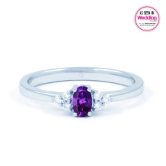 Leo Amethyst  Engagement and Diamond Ring 18ct White Gold image 0
