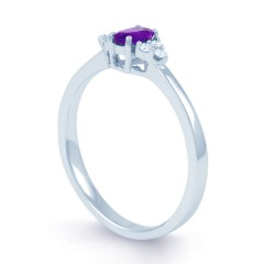 Leo Amethyst  Engagement and Diamond Ring 18ct White Gold image 1