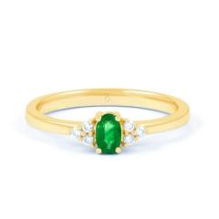 18ct Yellow Gold Emerald & Diamond Engagement Ring 0.06ct 2mm image 0