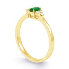 18ct Yellow Gold Emerald & Diamond Engagement Ring 0.06ct 2mm image 1