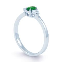 18ct White Gold Emerald & Diamond Engagement Ring 0.06ct 2mm image 1