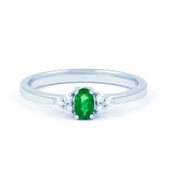 18ct White Gold Emerald & Diamond Engagement Ring 0.06ct 2mm image 0