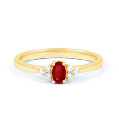 18ct Yellow Gold Ruby & Diamond Anniversary Ring 0.06ct 2mm image 0