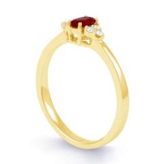 18ct Yellow Gold Ruby & Diamond Anniversary Ring 0.06ct 2mm image 1