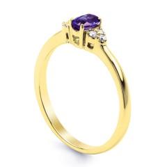 18ct Yellow Gold Tanzanite & Diamond Gemstone Ring 0.06ct 2mm image 1