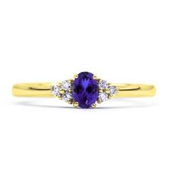 18ct Yellow Gold Tanzanite & Diamond Gemstone Ring 0.06ct 2mm image 0