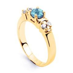 Lotus Aquamarine Diamond Engagement Ring in Yellow Gold image 1