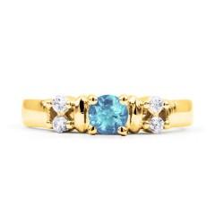 Lotus Aquamarine Diamond Engagement Ring in Yellow Gold image 0