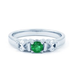 Lotus 9ct White Gold Emerald and Diamond Gemstone Ring image 0