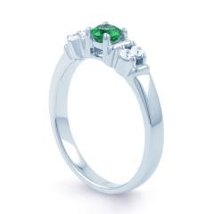 Lotus 18ct White Gold Emerald and Diamond Gemstone Ring image 1