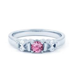Lotus 18ct White Gold Pink Sapphire and Diamond Gemstone Ring image 0