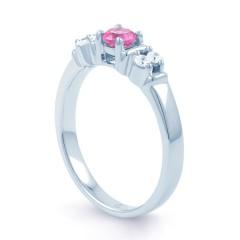 Lotus 18ct White Gold Pink Sapphire and Diamond Gemstone Ring image 1