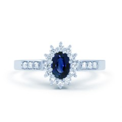 Starlight 18ct White Gold Sapphire and Diamond Engagement Ring image 0