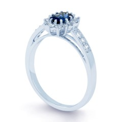 Starlight 18ct White Gold Sapphire and Diamond Engagement Ring image 1