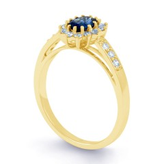 Starlight Blue Sapphire and Diamond Engagement Ring image 1
