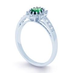 Starlight 18ct White Gold Emerald and Diamond Engagement Ring image 1