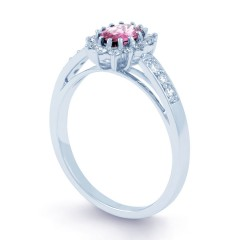 Starlight 9ct White Gold Pink Sapphire and Diamond Engagement Ring image 1