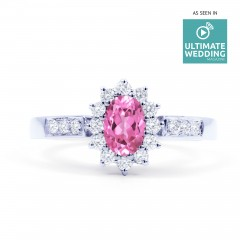 Starlight 9ct White Gold Pink Sapphire and Diamond Engagement Ring image 0