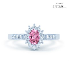 Starlight 18ct White Gold Pink Sapphire and Diamond Engagement Ring image 0
