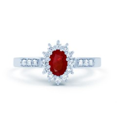Starlight 18ct White Gold Ruby and Diamond Engagement Ring image 0