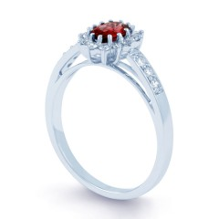 Starlight 18ct White Gold Ruby and Diamond Engagement Ring image 1