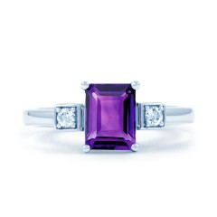 18ct White Gold Amethyst & Diamond Engagement Ring 0.1ct 2.5mm image 0