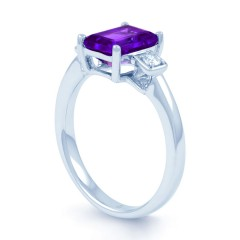 18ct White Gold Amethyst & Diamond Engagement Ring 0.1ct 2.5mm image 1