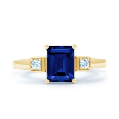 18ct Yellow Gold Blue Sapphire & Diamond Engagement Ring 0.1ct 2.5mm image 0