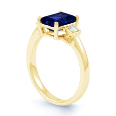 18ct Yellow Gold Blue Sapphire & Diamond Engagement Ring 0.1ct 2.5mm image 1
