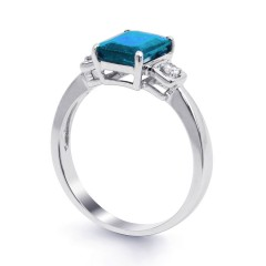 18ct White Gold Blue Topaz & Diamond Engagement Ring 0.1ct 2.5mm image 1
