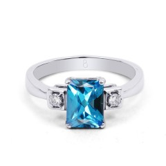 18ct White Gold Blue Topaz & Diamond Engagement Ring 0.1ct 2.5mm image 0
