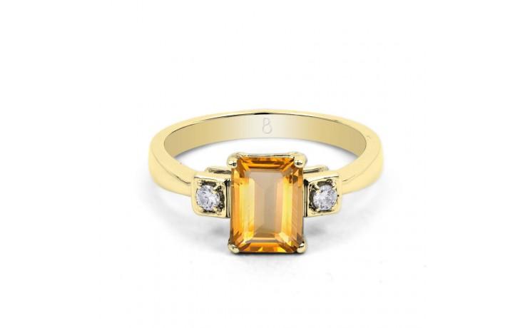 Citrine & Diamond Octagon Gold Ring product image 1
