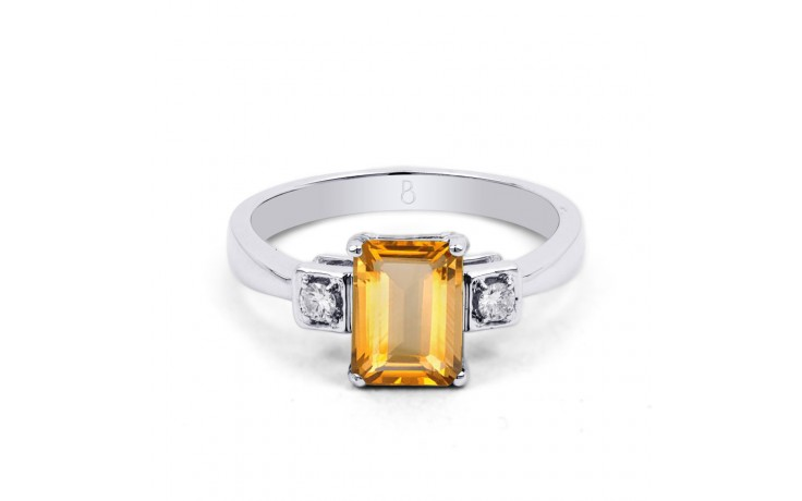 Citrine & Diamond Octagon Ring product image 1