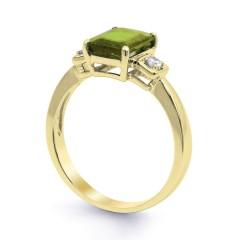 18ct Yellow Gold Peridot & Diamond Engagement Ring 0.1ct 2.5mm image 1