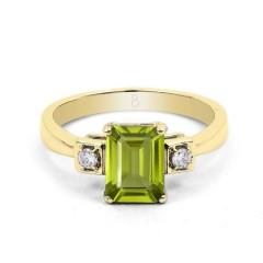 18ct Yellow Gold Peridot & Diamond Engagement Ring 0.1ct 2.5mm image 0