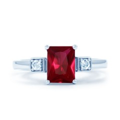 18ct White Gold Ruby & Diamond Engagement Ring 0.1ct 2.5mm image 0
