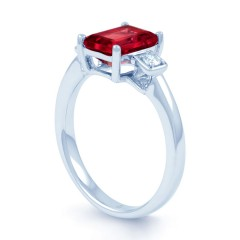 18ct White Gold Ruby & Diamond Engagement Ring 0.1ct 2.5mm image 1