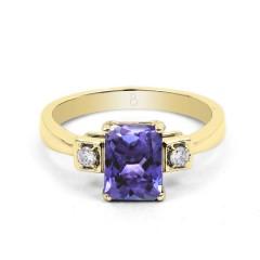 18ct Yellow Gold Tanzanite & Diamond Engagement Ring 0.1ct 2.5mm image 0