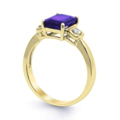 18ct Yellow Gold Tanzanite & Diamond Engagement Ring 0.1ct 2.5mm image 1