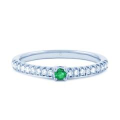 18ct White Gold Emerald & Diamond Gemstone Ring 0.12ct 1.5mm image 0