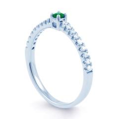 18ct White Gold Emerald & Diamond Gemstone Ring 0.12ct 1.5mm image 1