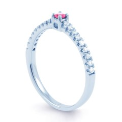 18ct White Gold Pink Sapphire and Diamond Engagement Ring image 1