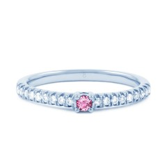 18ct White Gold Pink Sapphire and Diamond Engagement Ring image 0