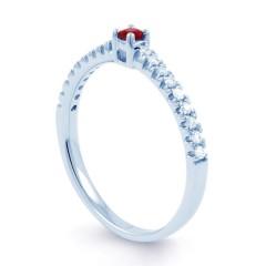 18ct White Gold Ruby & Diamond Gemstone Ring 0.12ct 1.5mm image 1
