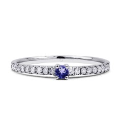 18ct White Gold Tanzanite & Diamond Gemstone Ring 0.12ct 1.5mm image 0