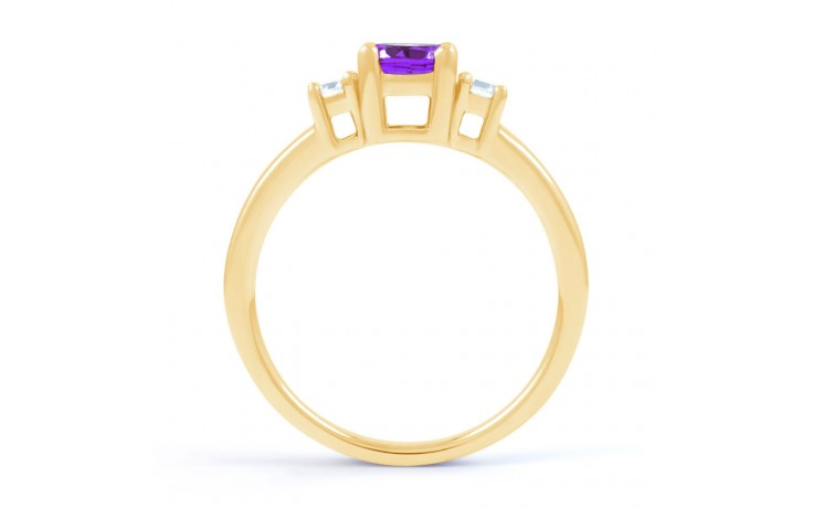 Amethyst 3 Stone Gold Ring  product image 3