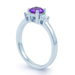 18ct White Gold Amethyst & Diamond 3 Stone Engagement Ring 0.1ct 2mm image 1