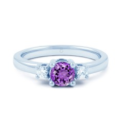 18ct White Gold Amethyst & Diamond 3 Stone Engagement Ring 0.1ct 2mm image 0