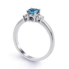 18ct White Gold Blue Topaz & Diamond 3 Stone Engagement Ring 0.1ct 2mm image 1