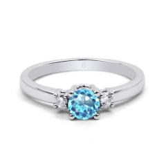 18ct White Gold Blue Topaz & Diamond 3 Stone Engagement Ring 0.1ct 2mm image 0